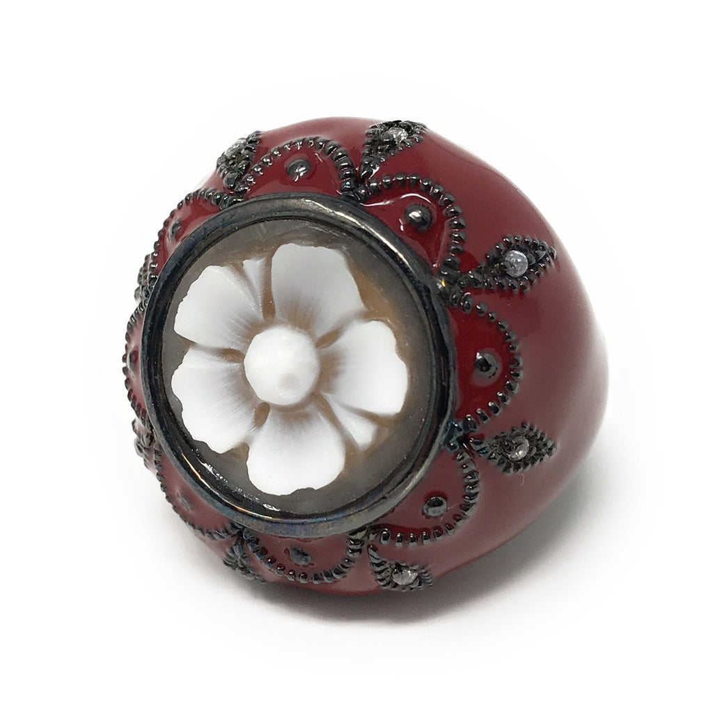 Silver Cameo Flower Adjustable Ring