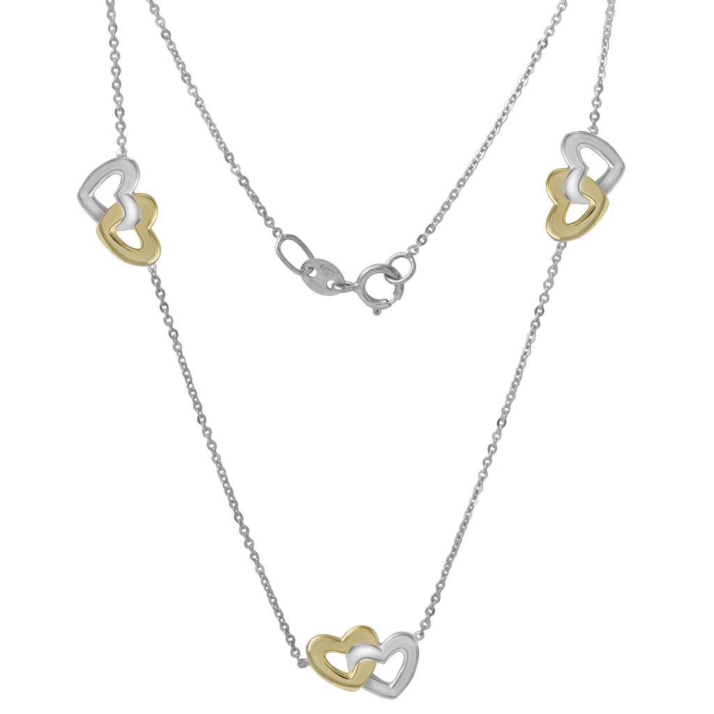 "14k Tri-Color Gold Italian Triple Entwined Hearts Necklace, 16+2"" Extender"