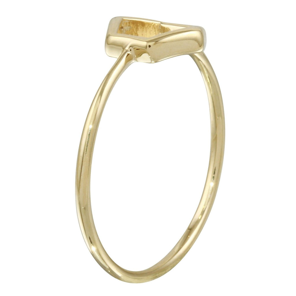 14k Yellow Gold Italian Hexagon Stacking Ring, Size 7
