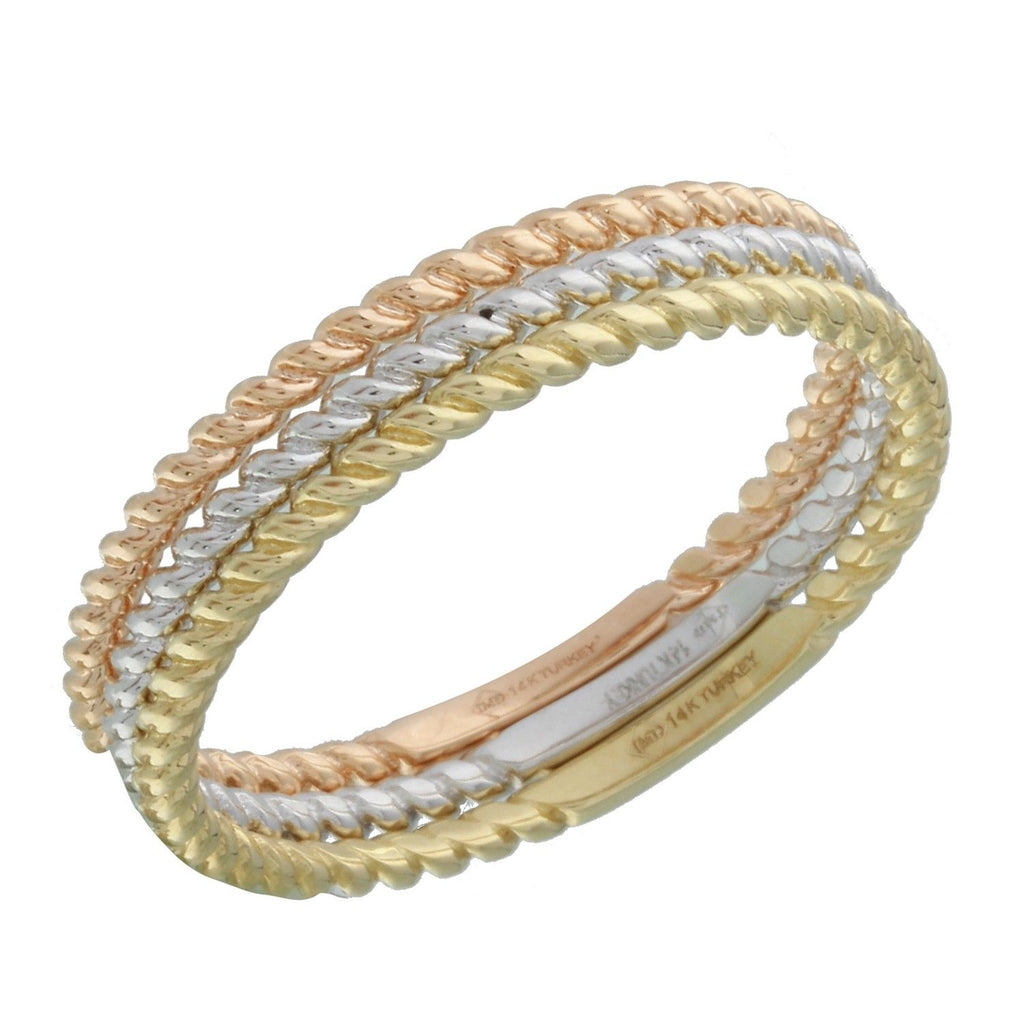 14k Tri-Color Gold Triple Stackable Ring, Size 7