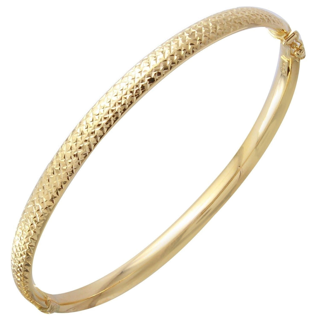 "14k Yellow Gold Diamond-Cut Bangle Bracelet, 7"" - Bee Jewels"