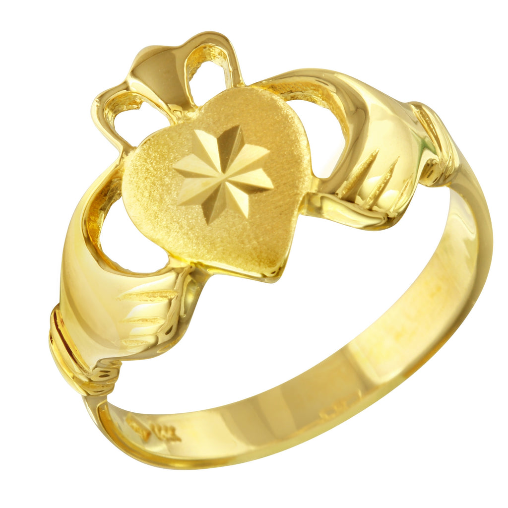 14k Gold Claddagh Ring, Size 7 - Bee Jewels