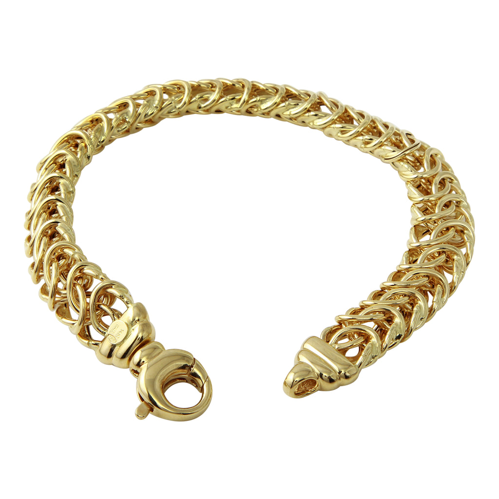14k Yellow Gold Italian Fish Link Bracelet, 7.75""