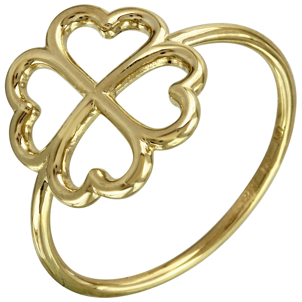 14k Italian Gold Clover Leaf Ring - Bee Jewels