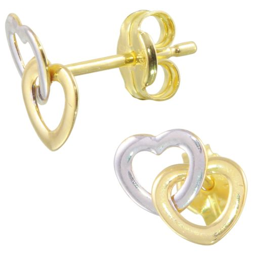 Double Heart 14k Yellow and White Gold Baby Earrings
