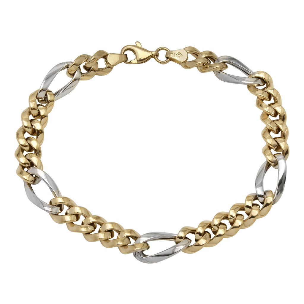 14k Two-Tone Gold 6.9mm Fancy Link Men's Bracelet, 7-8.25""
