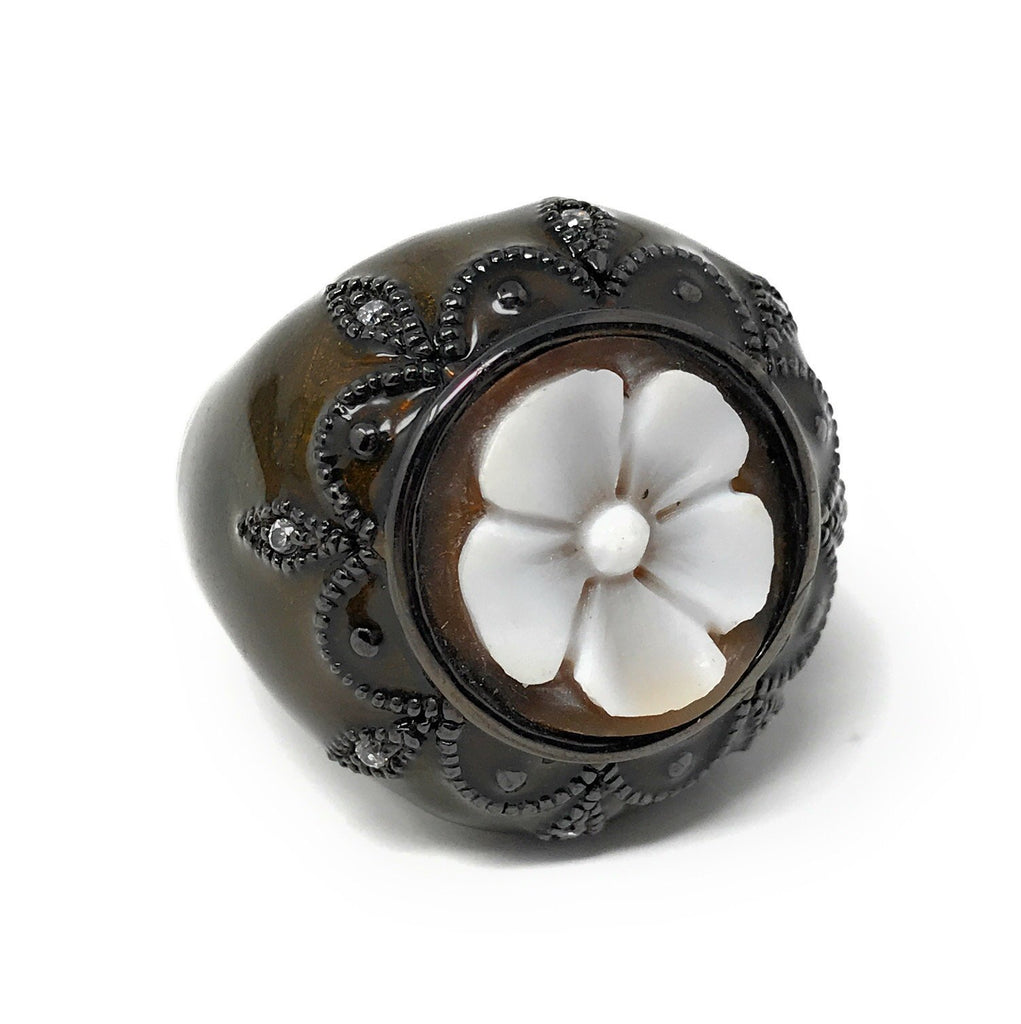 Cameo Flower Silver Ring, Adjustable