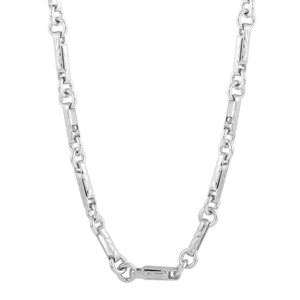 Men's Sterling Silver Oblong Ring Link Chain Necklace, 24-28""