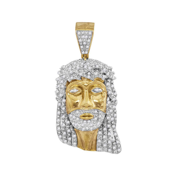 10K Yellow Gold Men's Diamond Jesus Christ Face Charm Pendant 7/8 Ct
