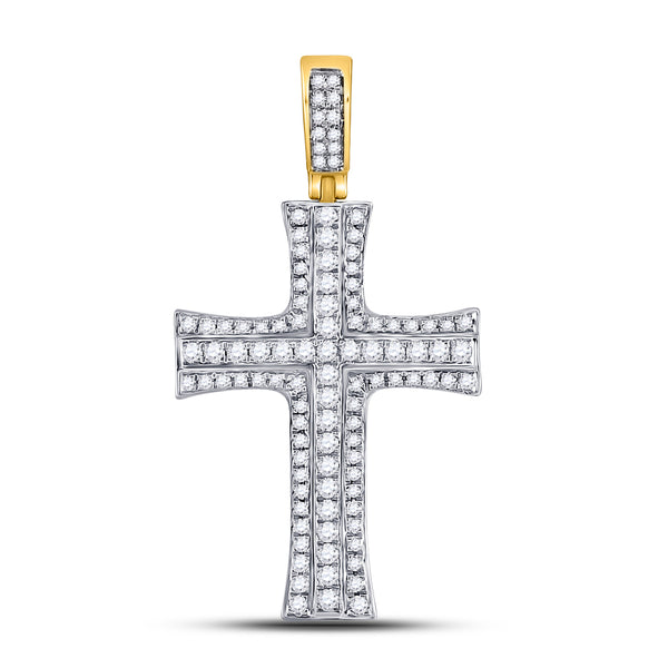 14K Yellow Gold Men's Diamond Cross Charm Pendant 1-1/2 Ct