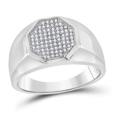 Men's 1/4 Ct Diamond Octagon Cluster Ring in 10K White Gold