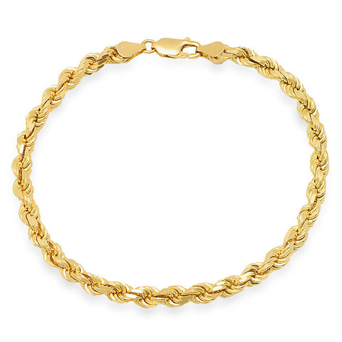 10K Yellow Gold Men's Solid Rope Bracelet