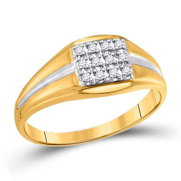 Men's 1/8 Ct Diamond Square Cluster Ring in 10K Yellow Gold