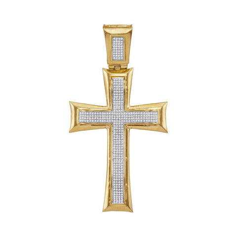 10K Yellow Gold WoMen's Diamond Flared Cross Charm Pendant 1.00 Ct