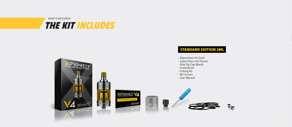 Exvape Expromizer V4 MTL RTA Kit Package Includes