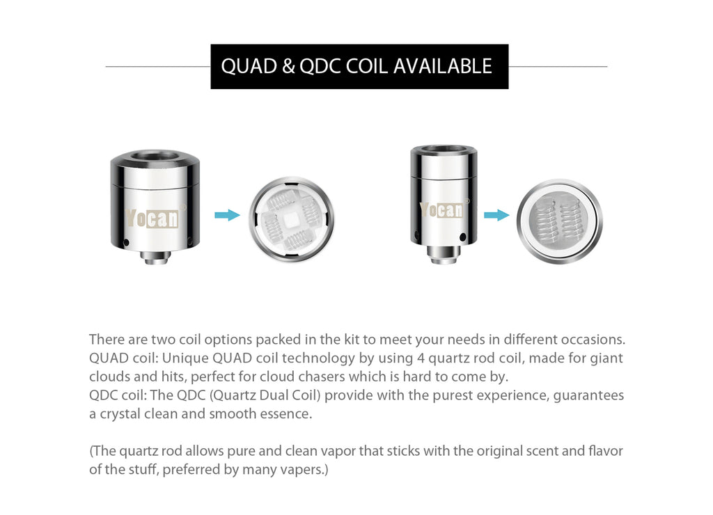 Yocan Loaded Wax Vaporizer Quad & QDC Coil Available