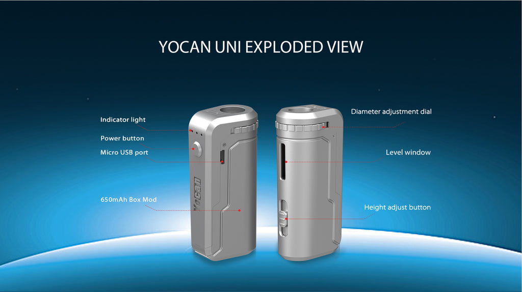 Yocan UNI VV Box Mod 650mAh Exploded View