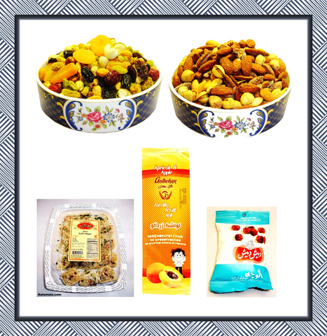 Kalamala Nuts&Dried Package deal (Sweet Nuts+Super Nuts+ Baslogh+Lavashak+Dried Plums)