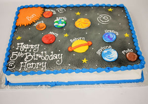 MaArthur's Bakery Custom Cake with Sprayed Black Blackground, Sun and Each Planet