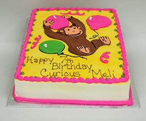 MaArthur's Bakery Custom Cake with Curious Geroge, Balloons, Pink, Green