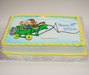 MaArthur's Bakery Custom Cake with Plane, Pilot, Banner, Clouds