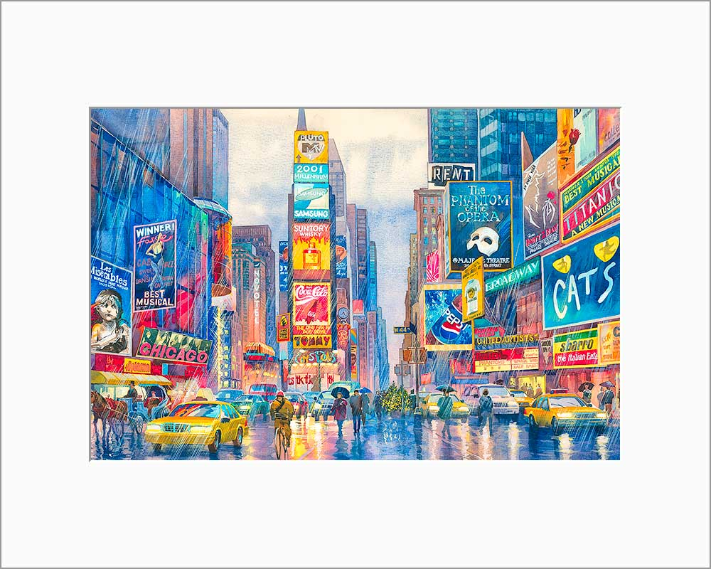 Rainy Times Square by Roustam Nour matted artwork