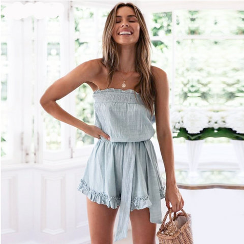 Loose Strapless High Waist Tie Romper