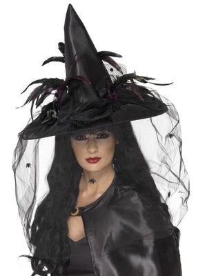 Deluxe Black Witch Fancy Dress Hat with Feathers