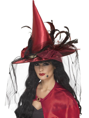 Deep Red Deluxe Witch Hat Fancy Dress