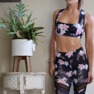 Cross Neck Lily Floral Sports Bra-Ladies, Lattes, and Lifting