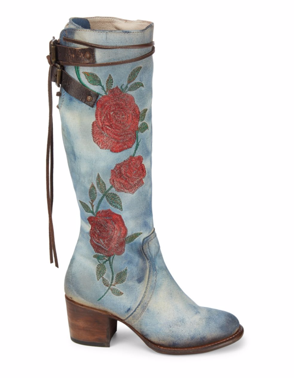 Denim Rose Embroidered Knee High Leather Boots