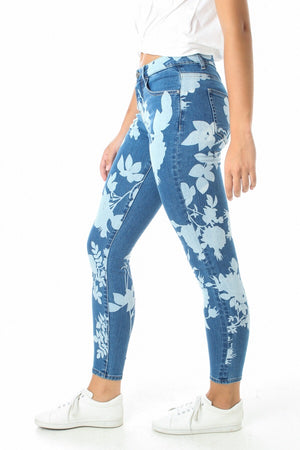 Flower Print Denim Jean