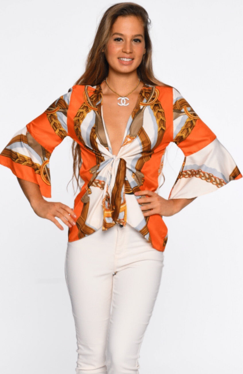 Orange Border Gypsy Top
