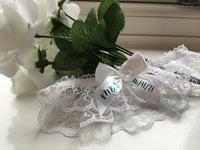 Personalised something blue bridal lace garter  - your initials & wedding date