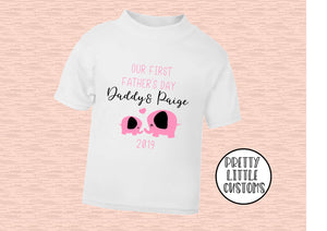 Personalised Our First Father's Day elephant print kids t-shirt - pink