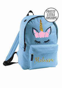 Personalised kids name rucksack/backpack/school bag - GLITTER unicorn