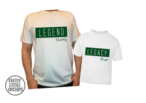 Personalised Legend & Legacy  t-shirt set - Father & son/daughter