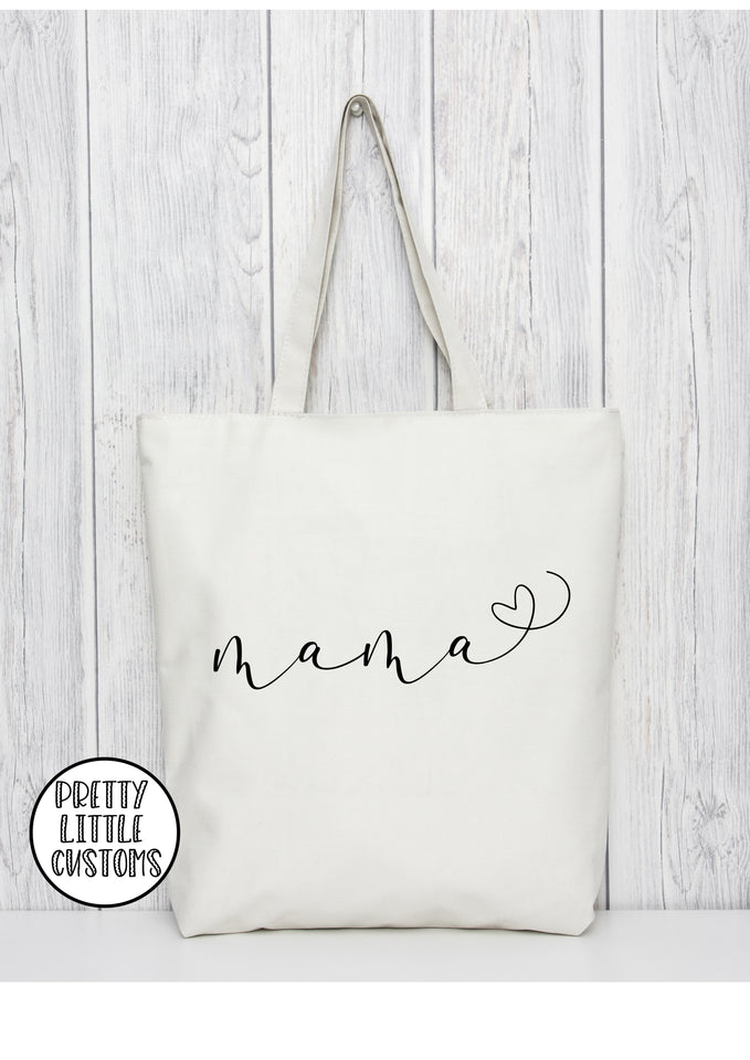 Mama heart print tote bag