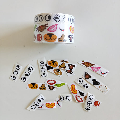 Eye, Nose & Mouth Sticker Roll set