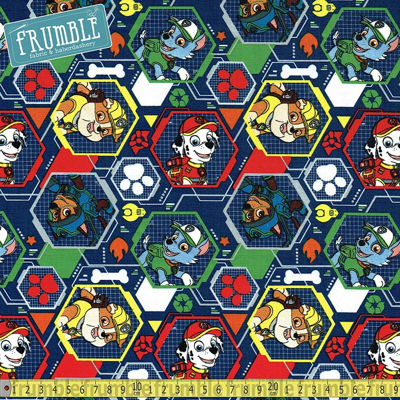 Paw Patrol Mission Pawsible Navy Fabric by David Textiles