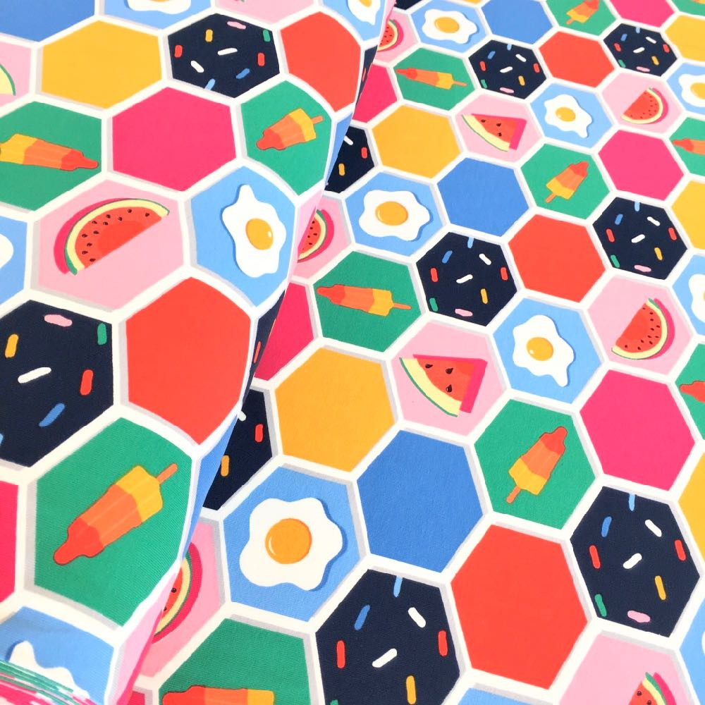 Summertime Hexagons Jersey Fabric