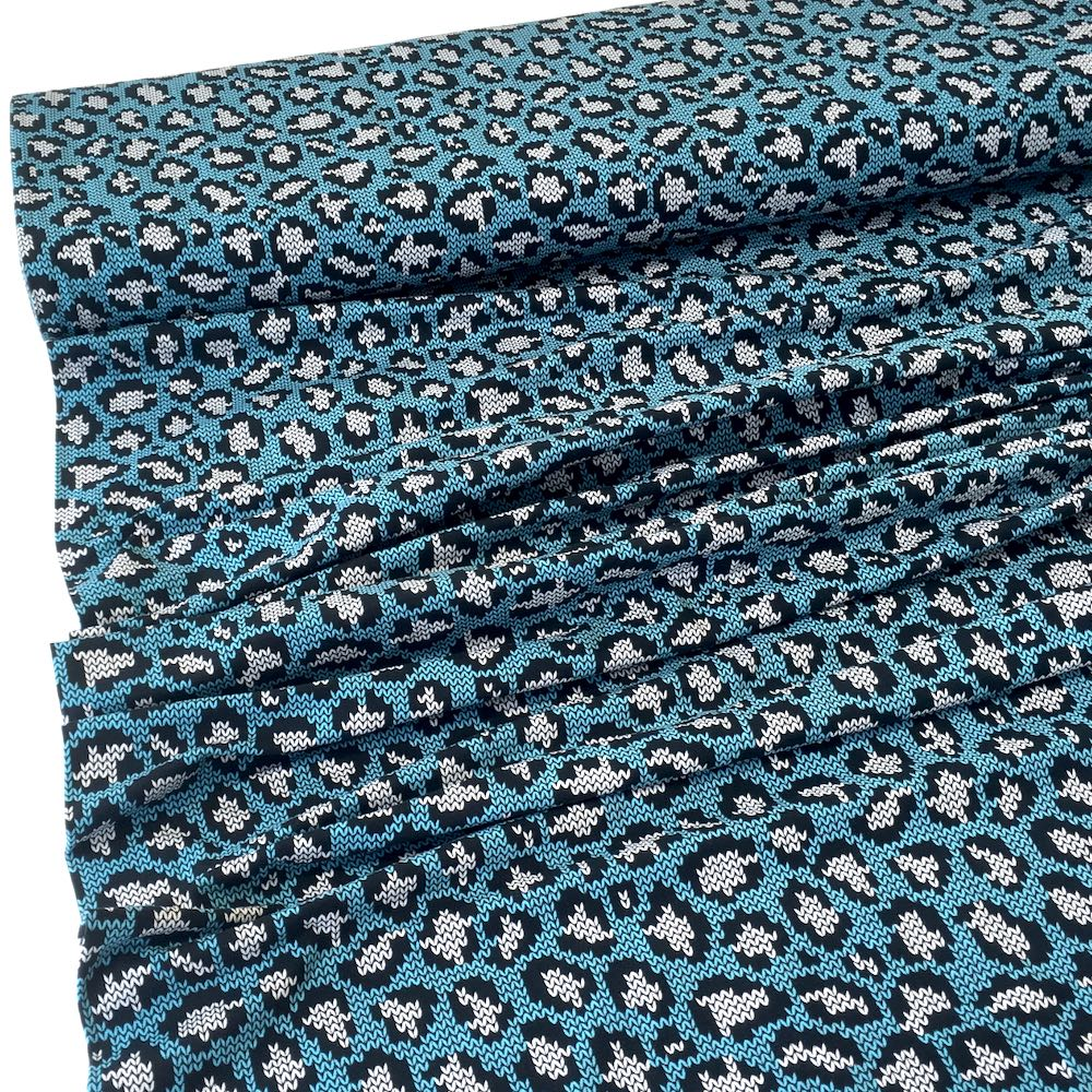 Knit and Purl Leopard Spots Blue Jersey Print Fabric