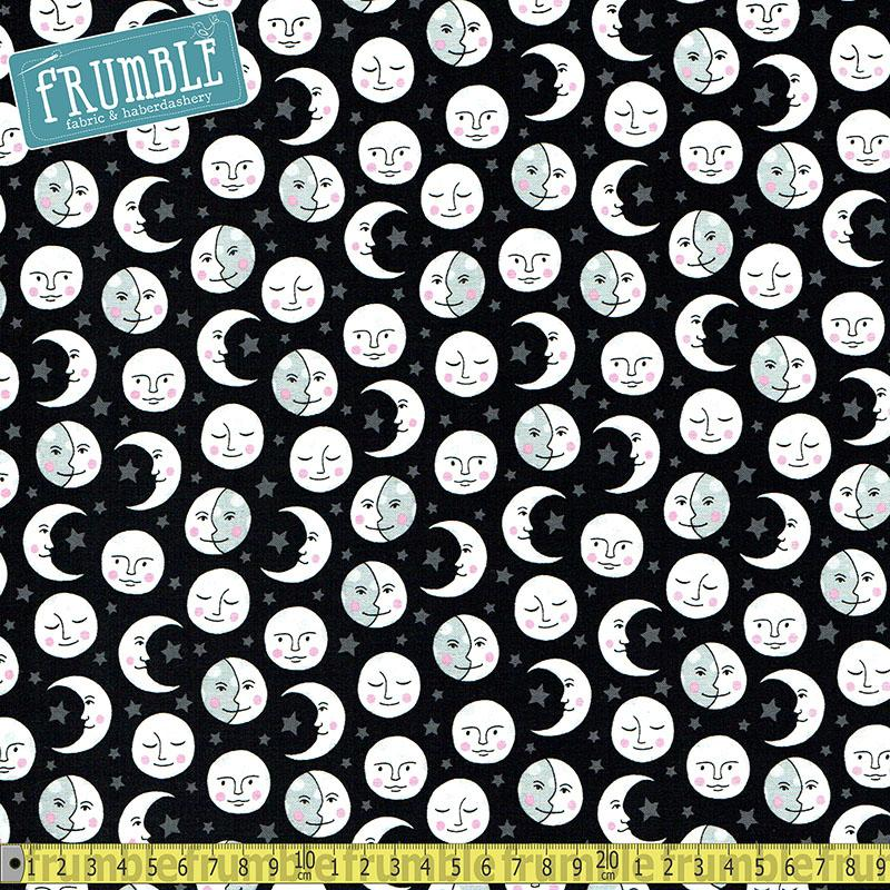 Daydreamer Moon Black Fabric by Robert Kaufman