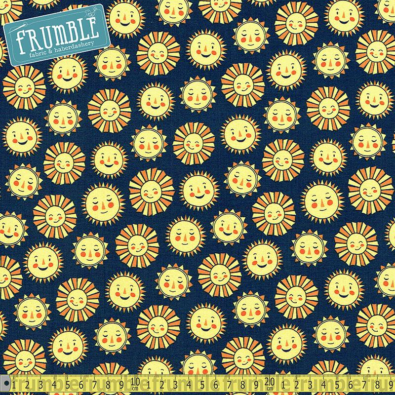 Daydreamer Sunshine Navy Fabric by Robert Kaufman