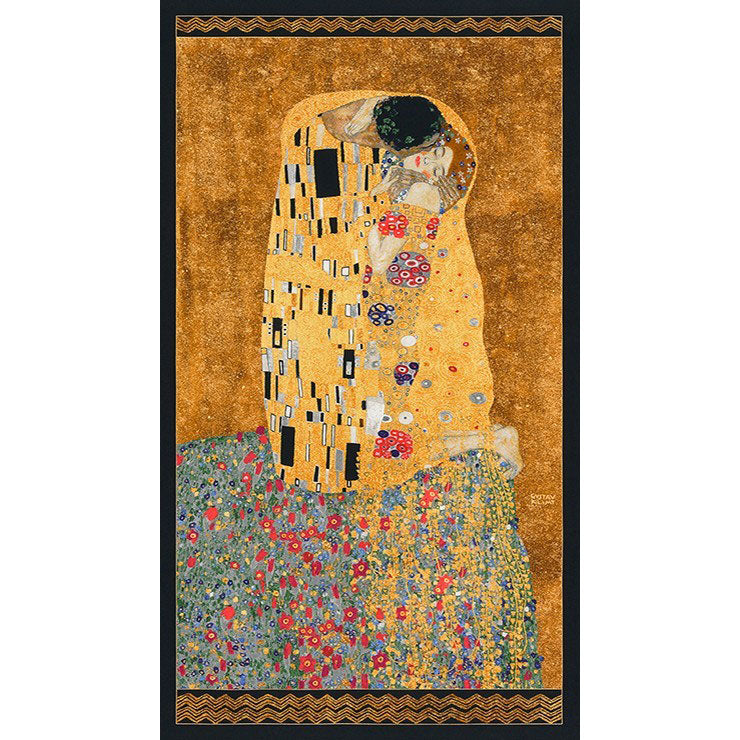 Gustav Klimt The Kiss Metallic Gold Panel