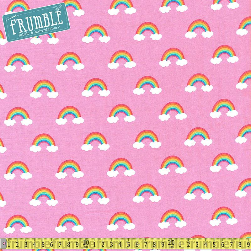 Happy Little Unicorns Rainbow Pink Fabric by Robert Kaufman