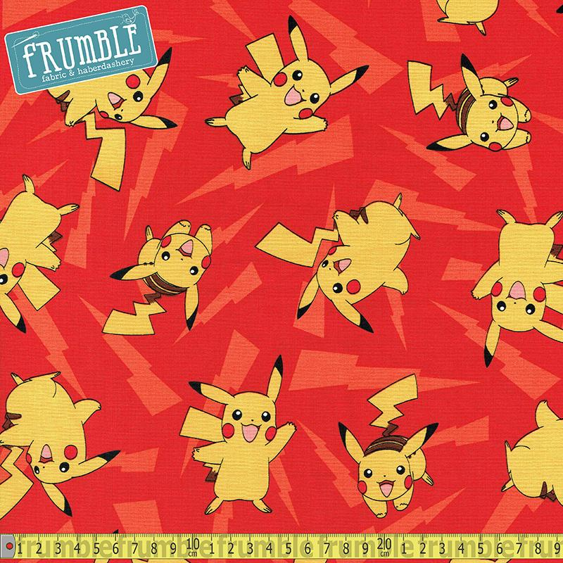 Pokemon Pikachu Lightning Red Fabric by Robert Kaufman