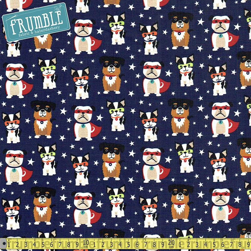 Superdog Navy Fabric by Riley Blake