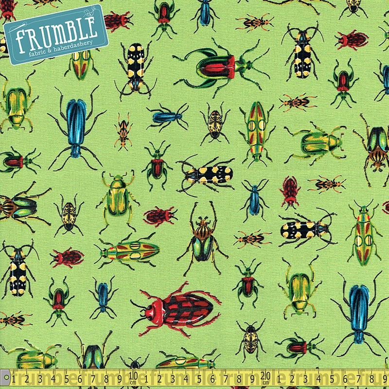 Everyday Favourites Bugs Green Fabric by Robert Kaufman