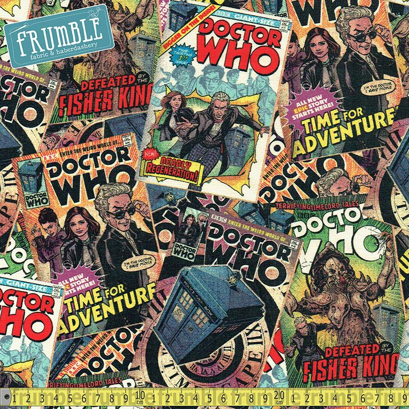Doctor Who Comic Book Toss Multi Fabric by Springs Creative